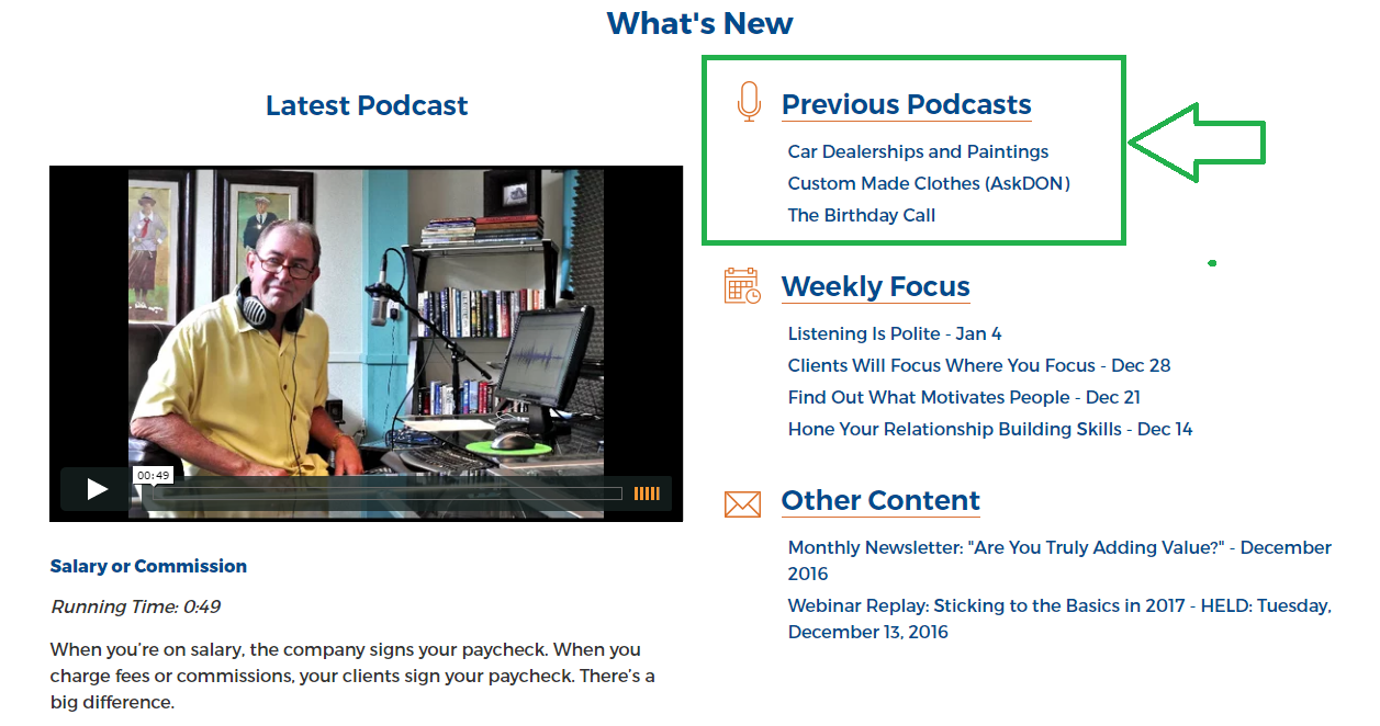 Previous podcasts - featured on Member Homepage