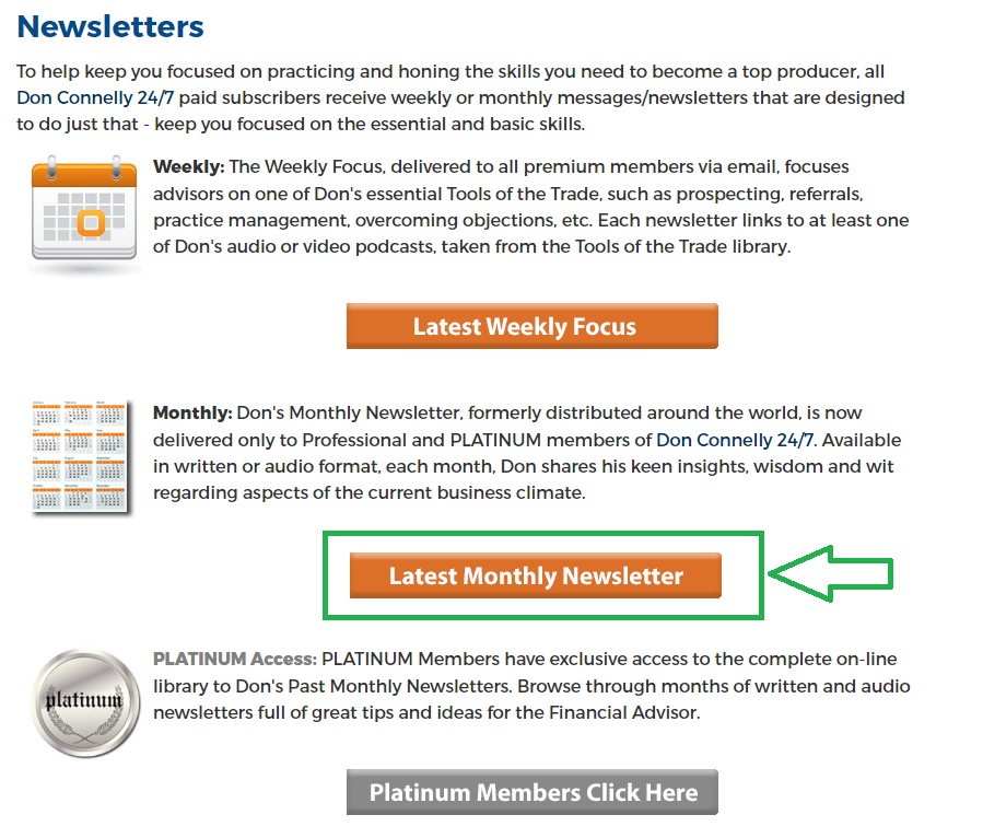 Latest Monthly Newsletter - button on Newsletters page