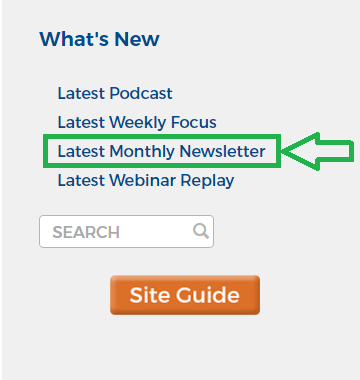Latest Monthly Newsletter - a text link in Member sidebar