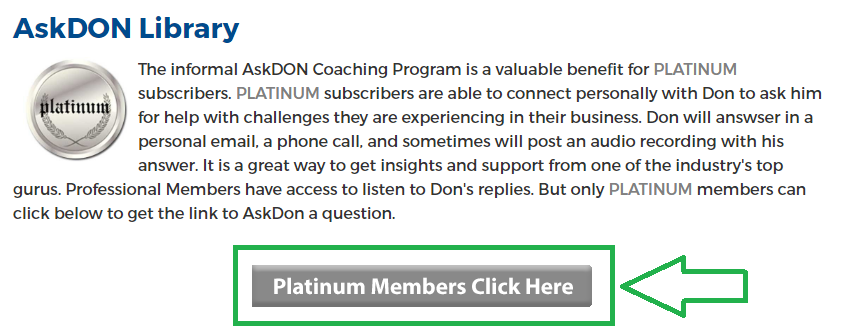 AskDON coaching - PLATINUM members click here button